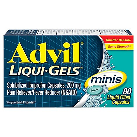 Advil Liqui-Gels minis Pain Reliever Fever Reducer Ibuprofen Easy to Swallow - 80 Count