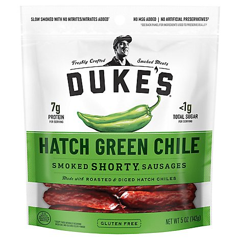 Dukes Shorty Sausages Hatch Green Chile - 5 Oz