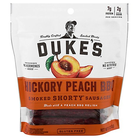 Dukes Hickory Peach Bbq Smoked Shorty Sausages - 5 Oz