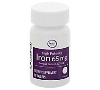 Signature Care Iron 65mg High Potency Dietary Supplement Tablet - 90 Count