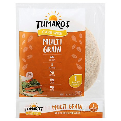 Tumaros Wrap Low Carb Mltigr - 8 Each