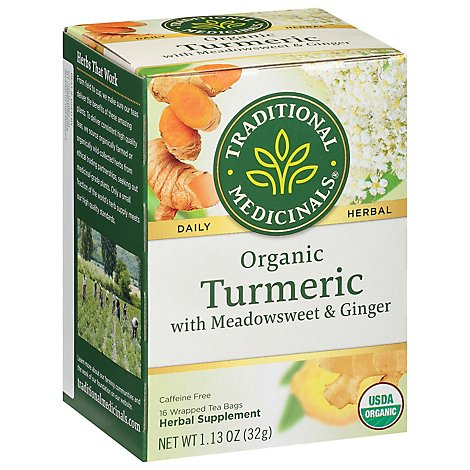Traditional Medicinals Herbal Tea Organic Turmeric With Meadowseet & Ginger - 16 Count