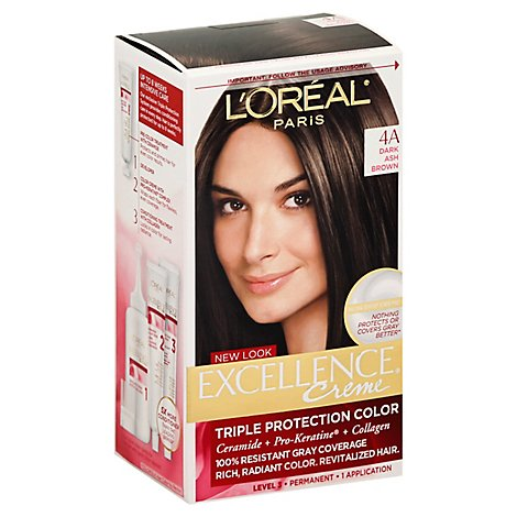 LOreal Excellence Creme Permanent Color Dark Ash Brown 4A - Each