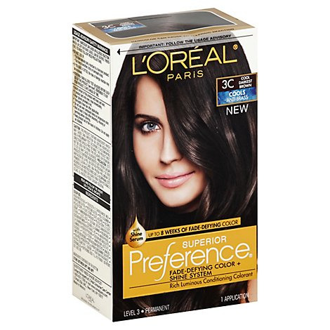 LOreal Superior Preference Permanent Color Cool Darkest Brown 3C - Each