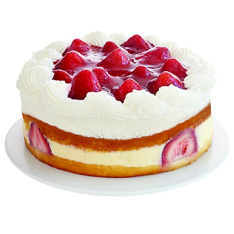 Bakery Cake 8 Inch 1 Layer Strawberry Cream Swirl - Each