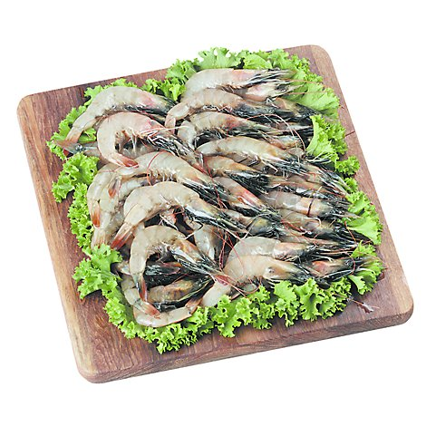 Seafood Counter Shrimp Raw Head On 31 Service Case - 1.50 LB