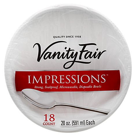 Vanity Fair Bowls Disposable Impressions 20 Ounce Wrapper - 18 Count