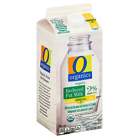 O Organics Organic Milk Reduced Fat With DHA - Half Gallon
