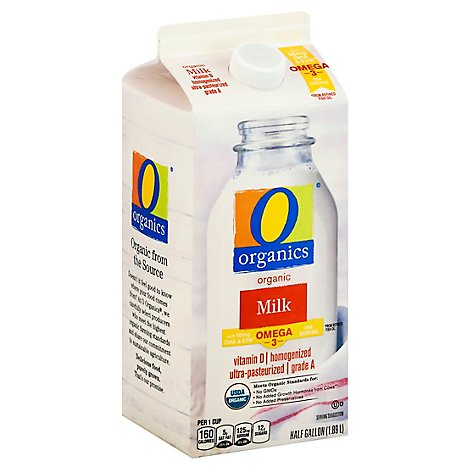 O Organics Organic Whole Milk With DHA - Half Gallon