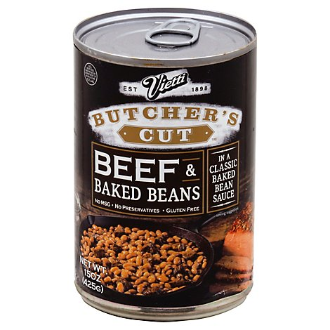 Vietti Butchers Cut Beans Baked & Beef In Baked Bean Gravy - 15 Oz