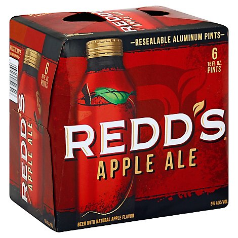 Redds Apple Ale Beer Aluminum Bottles 5% ABV - 6-16 Fl. Oz.