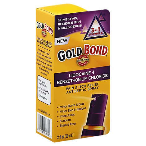 GOLD BOND Antiseptic Spray Pain & Itch Relief 3-in-1 Formula - 2 Oz