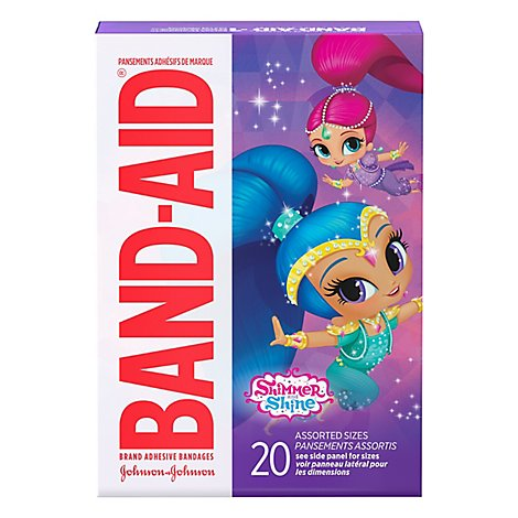 BAND-AID Brand Adhesive Bandages Nickelodeon Shimmer Shine Assorted Sizes - 20 Count