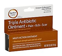 Signature Care Ointment Triple Antibiotic + Pain Itch Relief First Aid Maximum Strength - 0.5 Oz
