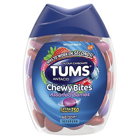Tums Antacid Tablets Chewable Extra Strength 750 Assorted Berries Chewy Bites - 60 Count