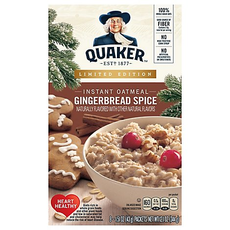 Quaker Oatmeal Instant Gingerbread Spice 8 Count - 12.1 Oz