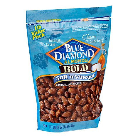 Blue Diamond Almonds Bold Salt N Vinegar Bag - 16 Oz