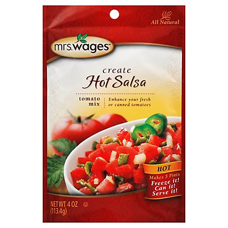 Mrs Wages Create Salsa Hot Mix Canning Totmato All Natural - 4 Oz