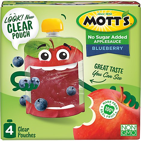 Motts No Sugar Added Blueberry Applesauce clear pouches - 4-3.2 Oz