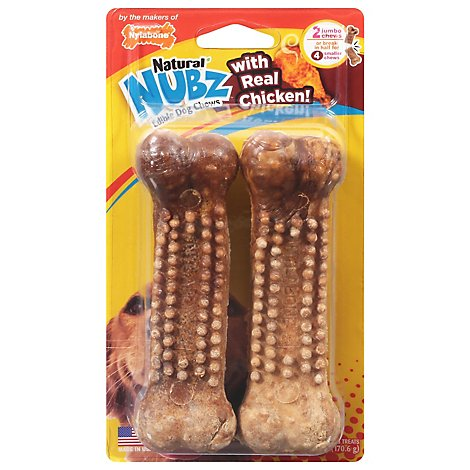 Nylabone Nubz Dog Chews Edible Chicken Jumbo 2 Count - 6.8 Oz
