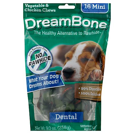 DreamBone Dog Chews No Rawhide Vegetable & Chicken Dental Mini Pouch 16 Count - 9 Oz
