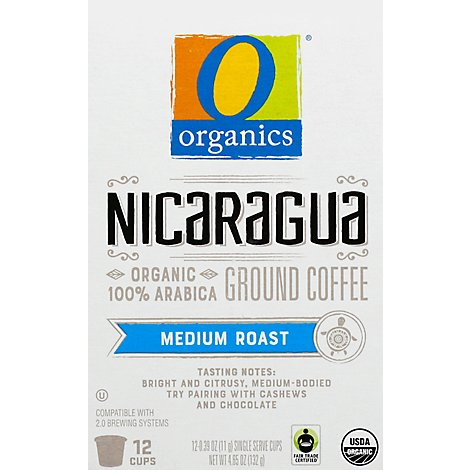 O Organics Coffee Organic Single Serve Cups Medium Roast Nicaraguan - 12-0.39 Oz