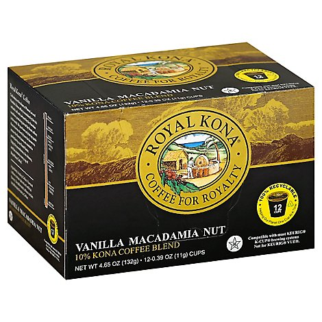Royal Kona Coffee Blend 10% Kona Single Serve Cups Vanilla Macademia Nut - 12-0.39 Oz
