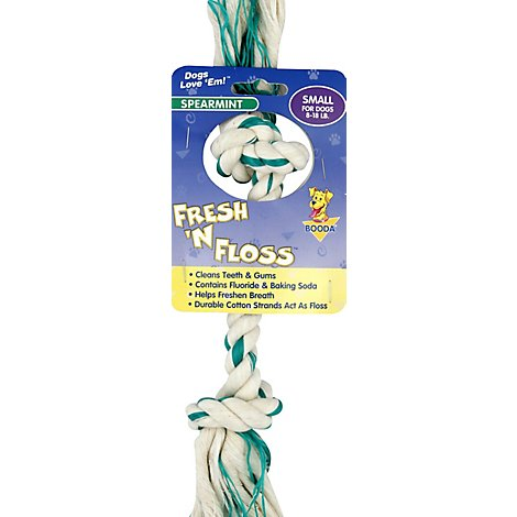 Booda Fresh N Floss Dog Toy 2 Knot Bone Small Spearmint - Each