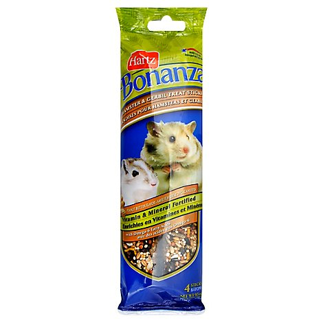 Hartz Bonanza Treat Sticks Hamster & Gerbil Peanut Butter Flavor Wrapper - 4 Count