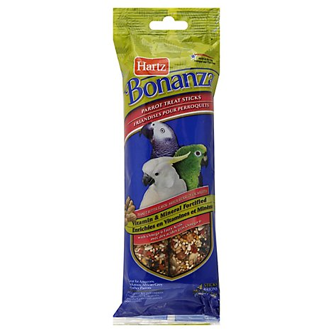 Hartz Bonanza Treat Sticks Parrot Peanut Butter Flavor Wrapper - 4 Count
