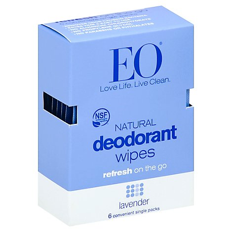 Eo Deodorant Lavender Wipes - 6 Count