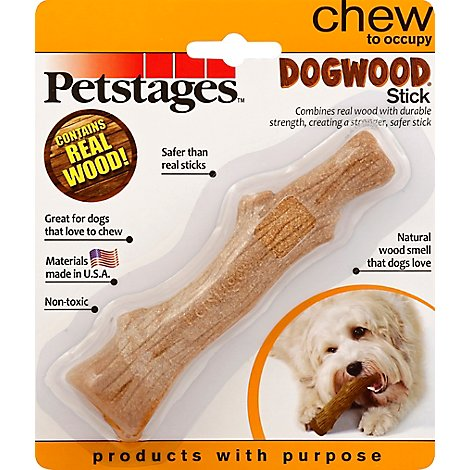 Petstages Dog Toy Chew Dogwood Stick Real Wood Blister Pack - Each