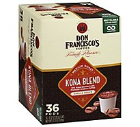 Don Franciscos Coffee Family Reserve Coffee Single Serve Medium Roast Kona Blend - 36-0.37 Oz