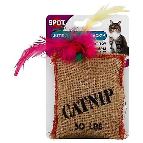SPOT Cat Toy Jute & Feather Sack With Catnip Card - Each