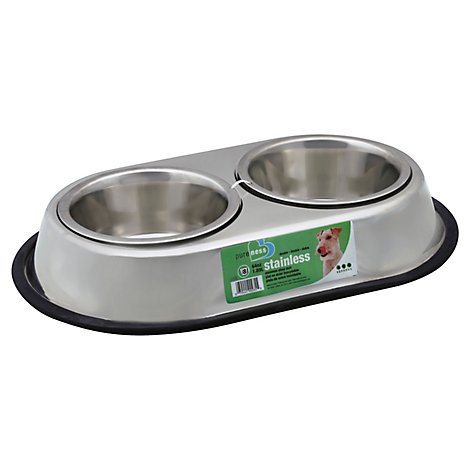 Van Ness Pet Dish Stainless Steel Heavyweight Double 64 Oz SS5 - Each