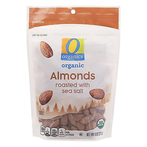 O Organics Organic Almonds Roasted with Sea Salt - 8 Oz