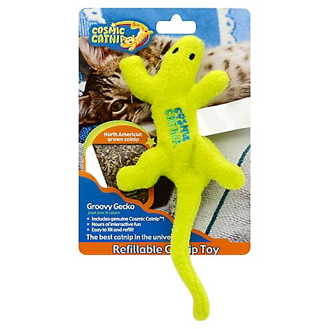 OurPets Cosmic Catnip Cat Toy Catnip Filled Groovy Gecko Refillable Pack - Each