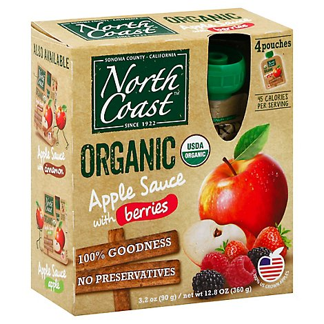 North Coast Organic Apple Sauce With Berries Pouches - 4-3.2 Oz