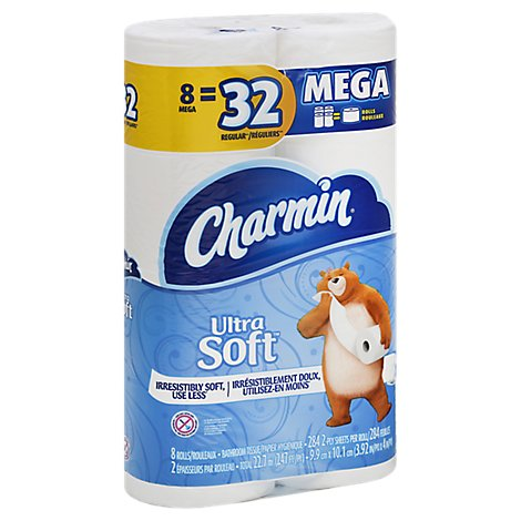 Charmin Ultra Soft Bathroom Tissue Mega Rolls 2 Ply - 8 Roll