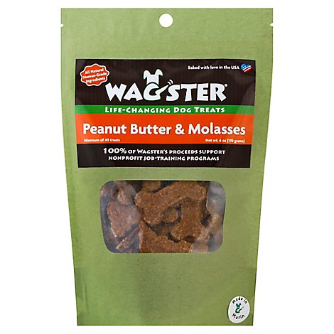 Wagster Dog Treats Life Changing Peanut Butter & Molasses Pouch - 6 Oz