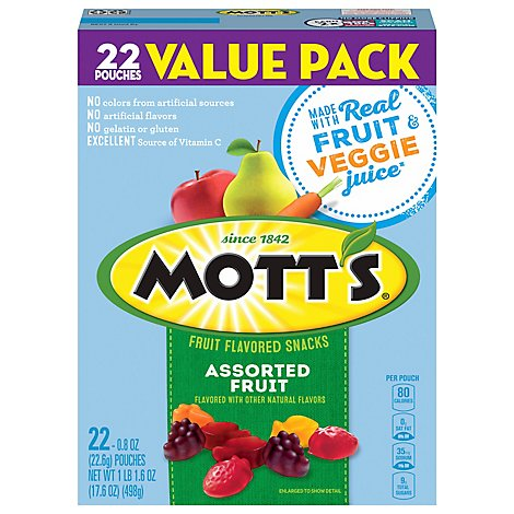 Motts Fruit Flavored Snacks Assorted Fruit Value Pack - 22-0.8 Oz