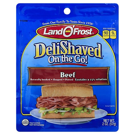 Land O Frost Deli Shaved On The Go Beef - 2 Oz