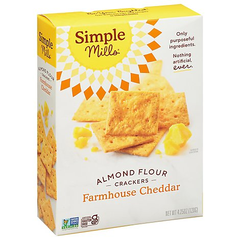 Simple Mills Crackers Almond Flour Farmhouse Cheddar - 4.25 Oz