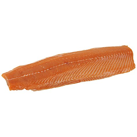 Seafood Service Counter Fish Salmon Atlantic Fillet Farmed Fresh Seasoned W/Plank - 1.25 LB