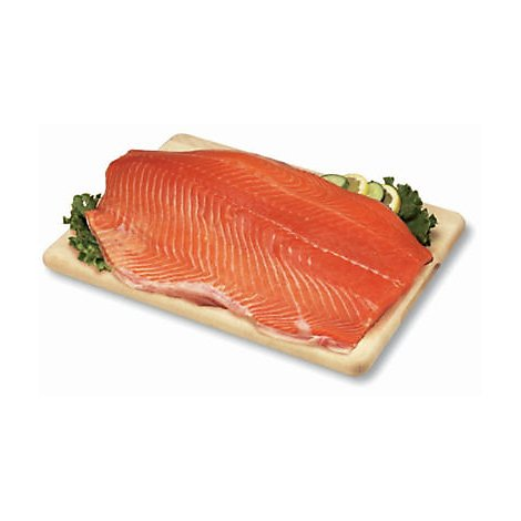 Seafood Counter Fish Salmon Atlantic Fillet Farmed Fresh Seasoned With Plank - 1.50 LB