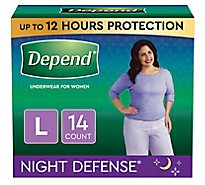 Depend Night Defense Underwear for Women Overnight Large - 14 Count
