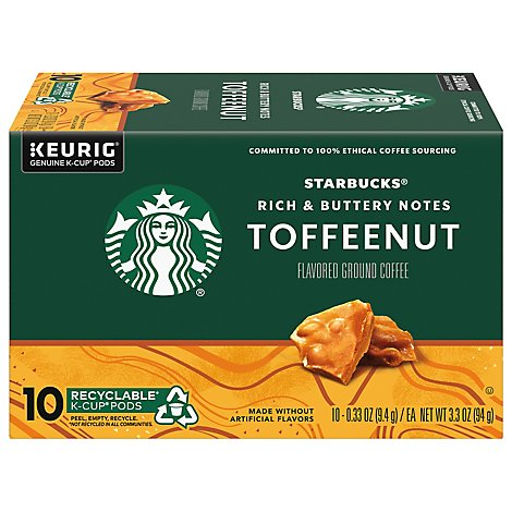 Starbucks Coffee K-Cup Pods Flavored Toffee Nut Box - 10-0.33 Oz