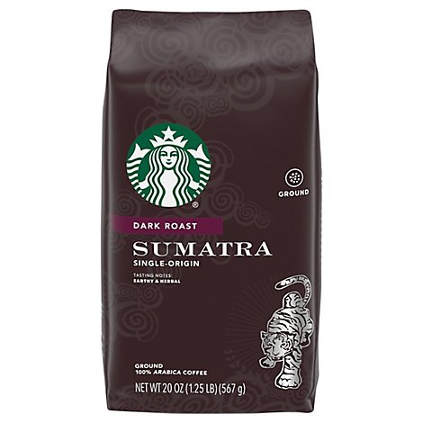 Starbucks Coffee Ground Dark Roast Sumatra Bag - 20 Oz
