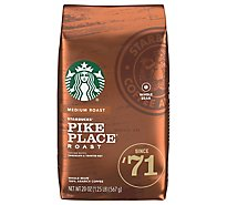 Starbucks Coffee Whole Bean Medium Roast Pike Place Roast Bag - 20 Oz