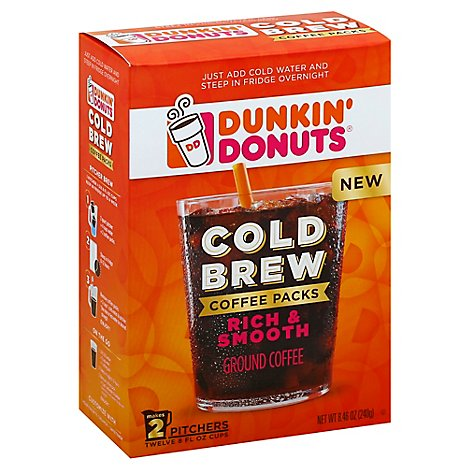 Dunkin Donuts Coffee Ground Cold Brew Coffee Packs Rich & Smooth - 8.46 Oz